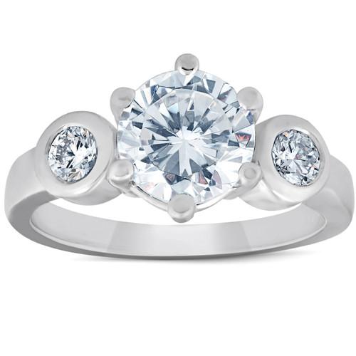 4Ct Round Cut Moissanite & Diamond 3-Stone Ring 14K White Gold (F, VVS1)