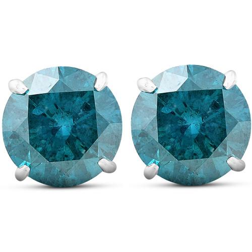 4.03 Ct Blue Diamond Studs 14k White Gold (Blue, I2)