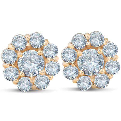 1 3/8 ct Halo Fire Diamond Studs 14K Yellow Gold (G/H, I1)