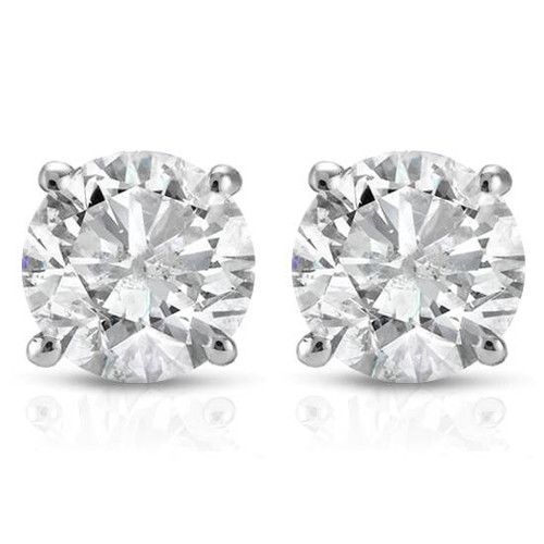 1/2Ct Round Diamond Studs Earrings in 14K White Or Yellow Gold Basket Setting (H-I, I2-I3)