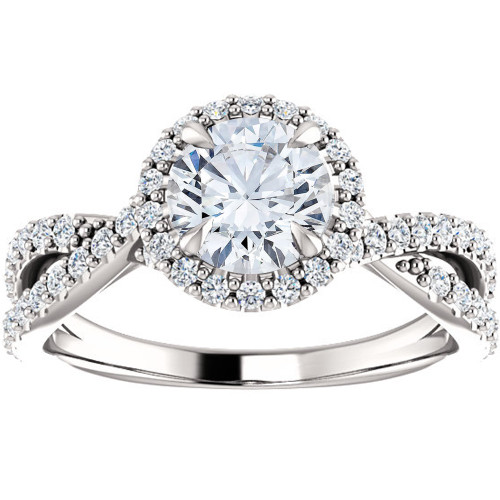 1 Ct Halo Intertwined EX3 Lab Grown DIamond Engagement Ring 14k White Gold (((G-H)), VS1)