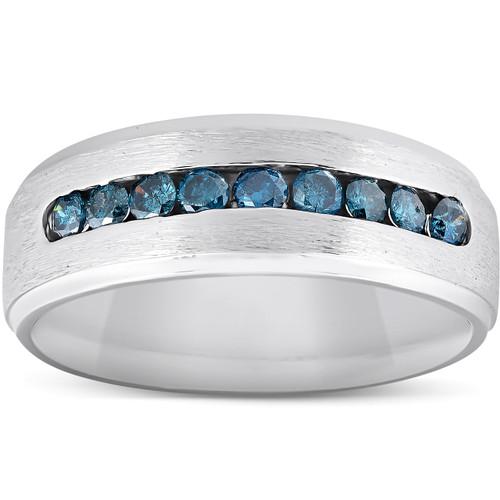 Mens 1/3ct Blue Diamond Brushed Wedding Ring 14k White Gold (Blue, I1-I2)
