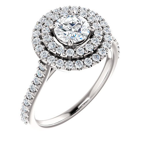 1 Ct Diamond EX3 Lab Grown Double Halo Engagement Ring 10k White Gold (((G-H)), SI(2)-I(1))