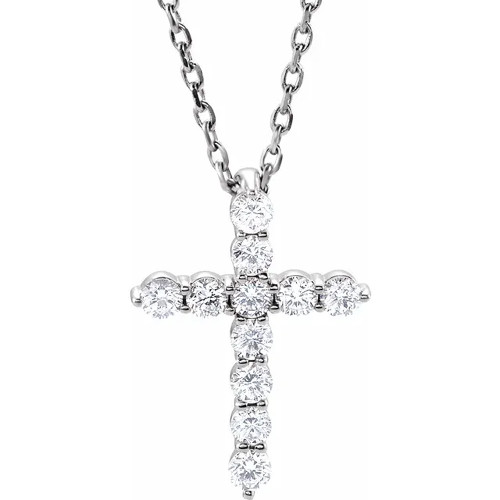 "1/4 Ct Diamond Cross Pendant Necklace 18"" 14k White Gold EX3 Lab Grown (((G-H)), I)"
