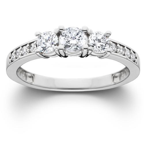1Ct Diamond EX3 Lab Grown Three Stone Engagement Ring 10k White Gold (((G-H)), SI(1)-SI(2))