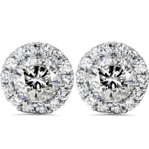 1 7/8ct Halo Diamond Studs 14K White Gold (H-I, I2-I3)