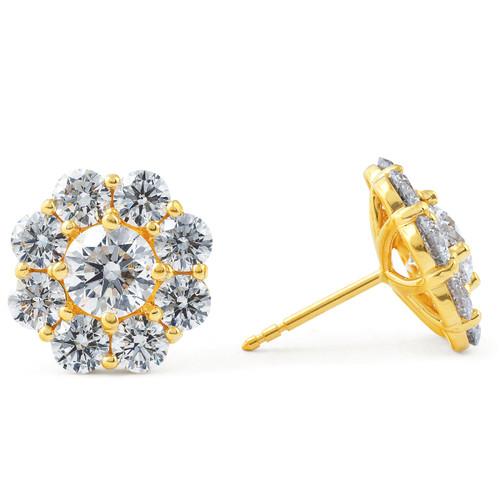 3Ct Diamond Halo Studs 14k Yellow Gold EX3 Lab Grown (G, VS)