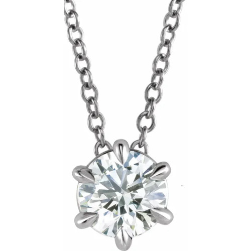 """14K White Gold 1/2ct Floating Solitaire Round Diamond Pendant 18"""" Necklace (H/I, I2)"""