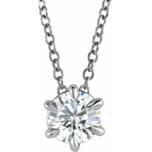 Platinum 1/4 Ct Floating Solitaire EX3 Lab Grown Diamond Pendant Necklace (((G-H)), SI(1)-SI(2))