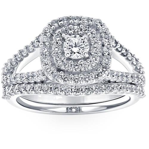 1 1/10 Ct Lab Grown Diamond Cushion Halo Engagement Wedding Ring Set White Gold (((G-H)), SI(1)-SI(2))