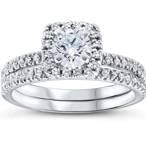 5/8 Ct Lab Grown Diamond Cushion Halo Engagement Wedding Ring Set White Gold EX3 (((G-H)), SI(1)-SI(2))