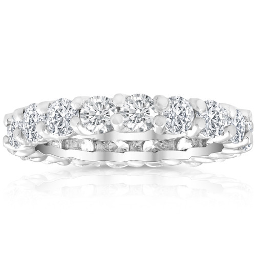 2 Ct Lab Created Moissanite Eternity Ring Womens Wedding Band 14k White Gold (((G-H)), VS1-VS2)