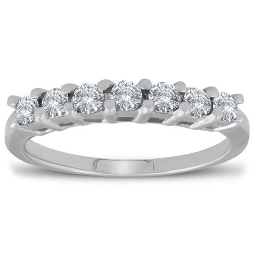 1/2ct 7-Stone Diamond Wedding Ring 14K White Gold Womens Anniversary Band (G/H, I1-I2)