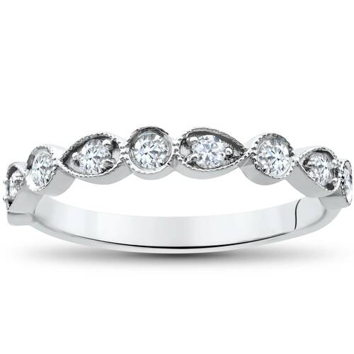 1/4Ct Diamond Wedding Ring Womens Stackable 10k White Gold Anniversary Band (G/H, I1-I2)