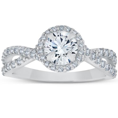 1 Ct Halo Intertwined Diamond Engagement Ring 14k White Gold (G/H, I1-I2)