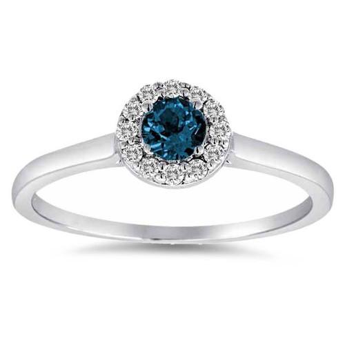 1/2ct Blue Halo Diamond Engagement Ring With Plain Band 14K White Gold (G/H, I1-I2)
