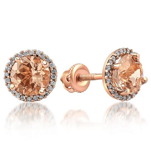 1 1/2 Ct Diamond & Morganite Rose Gold Halo Studs Screw Back Earrings Rose Gold (I-J, I2-I3)