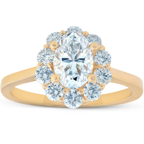1 5/8 Ct Oval Lab Created Moissanite & Diamond Halo Engagement Ring Yellow Gold (((G-H)), SI(2)-I(1))
