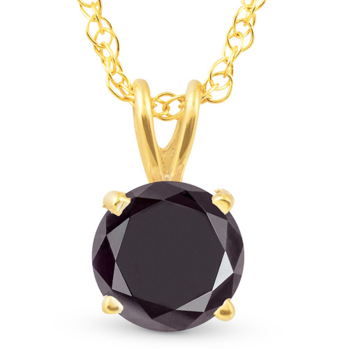 1 Ct Black Diamond Solitaire Pendant Necklace 10k Yellow Gold (Black, AAA)