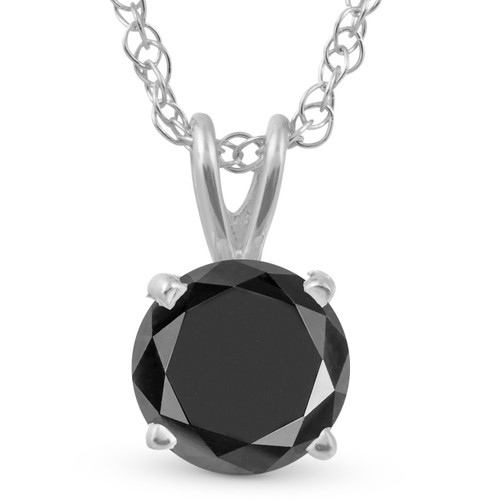 1 1/4 Ct Black Diamond Solitaire Pendant Necklace In 14k White Gold (Black, AAA)
