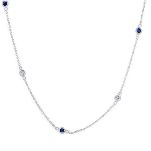 "1/2 Ct tdw Blue Sapphire & Diamond By The Inch 18"" Necklace IGI Certified ((I-J), I2-I3)"