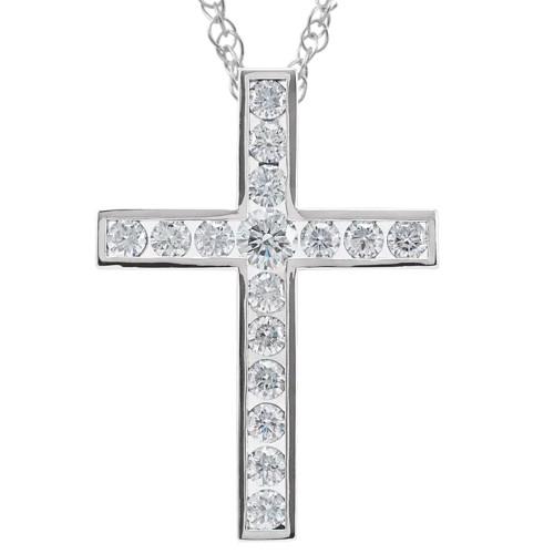 "1 1/2 Ct Diamond Cross Pendant Necklace 18"" 10k White Gold 32mm Tall (G/H, I1)"