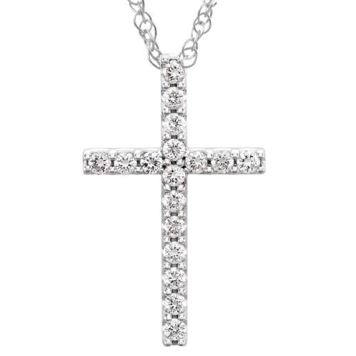 "1/3 Ct Diamond Cross Pendant Necklace 18"" 10k White Gold 21mm Tall (G/H, I1)"