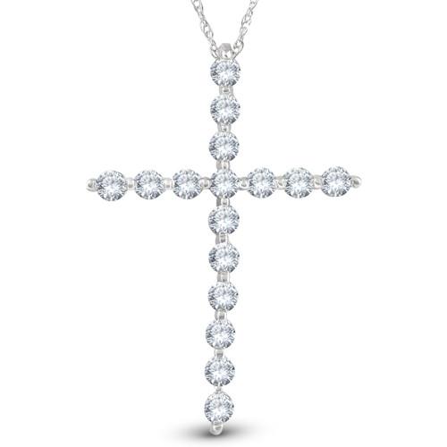 "5/8 Ct Diamond Cross Pendant Necklace 18"" 10k White Gold 1"" Tall (G/H, I1)"