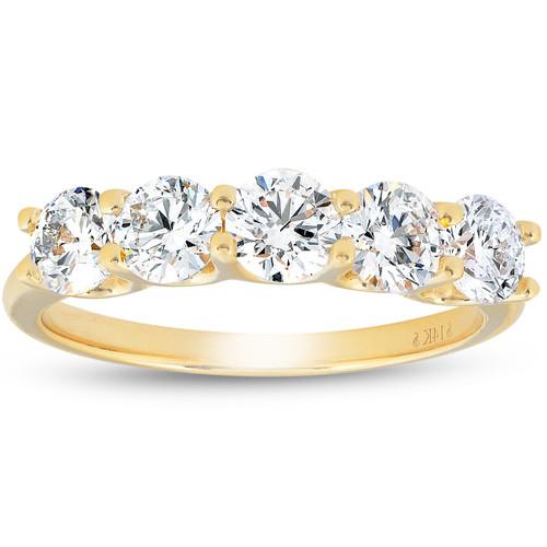 1 1/4 Ct Lab Grown Diamond Five Stone Wedding Ring 14k Yellow Gold U Prong (((G-H)), SI(1)-SI(2))