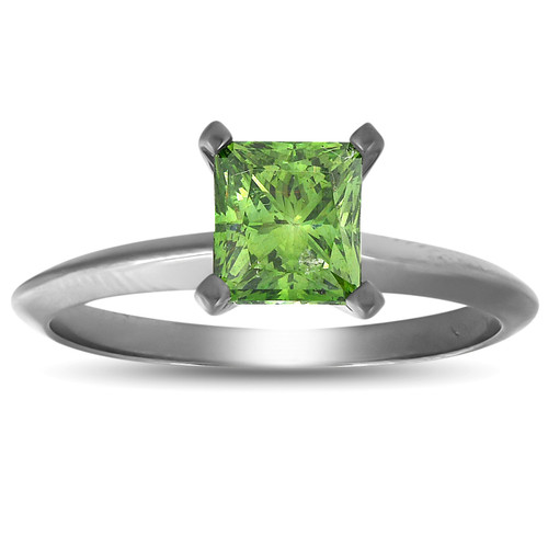 1 Ct Princess Cut Green Diamond Solitaire Engagement Ring 14k Black Gold (Green, SI)