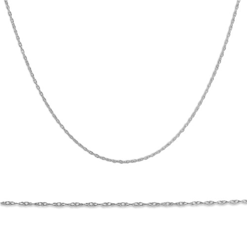 """Solid 10k White Gold 18"""" Dainty Chain With Spring Ring"""