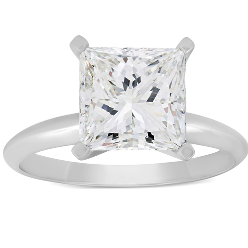 3 Ct Princess Cut Diamond Solitaire Engagement Ring 14k White Gold (I/J, I1-I2)
