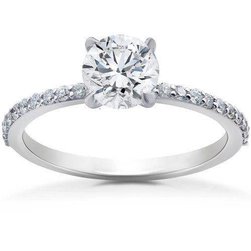 1 ct Lab Grown Diamond EX3 Engagement Ring 14k White Gold (G-H,SI1-SI2) (((G-H)), SI(1)-SI(2))