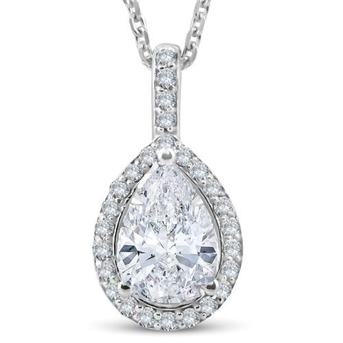 1 1/4Ct Pear Shape Halo Diamond 1ct ctr Pendant 14k White Gold Necklace Enhanced (H-I, SI)