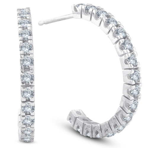 1 cttw Diamond Hoops With Push Back 14K White Gold 20mm Tall (G/H, )