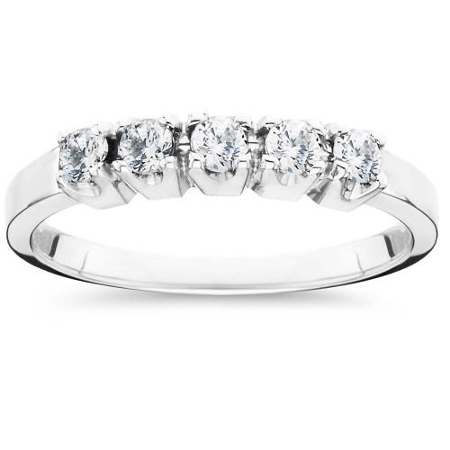 1/4 Ct Five Stone EX3 Lab Grown Diamond Wedding Ring 14k White Gold (H-I,SI2-I1) ((H-I), SI(2)-I(1))