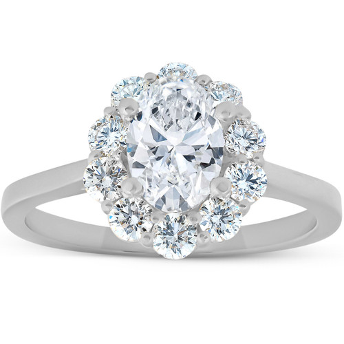 1 5/8 Ct Oval Lab Created Moissanite & Diamond Halo Engagement Ring White Gold (((G-H)), SI(1)-SI(2))
