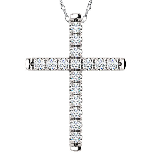 "1/2 Ct EX3 Lab Grown Diamond Cross Pendant Necklace 1"" Tall 14k White Gold (((G-H)), SI(2)-I(1))"