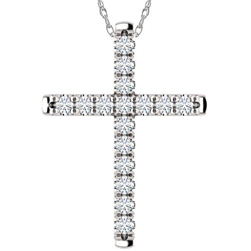 "1/2 Ct EX3 Lab Grown Diamond Cross Pendant Necklace 1"" Tall 14k White Gold (((G-H)), SI(2)-I(1))"