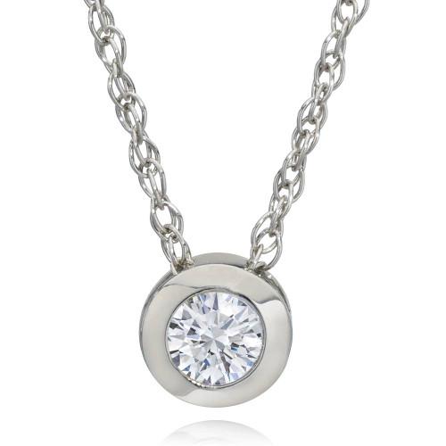 1/3Ct Diamond Solitaire Lab Grown Diamond Pendant White Gold Necklace (HI,SI) ((H-I), SI(1)-SI(2))