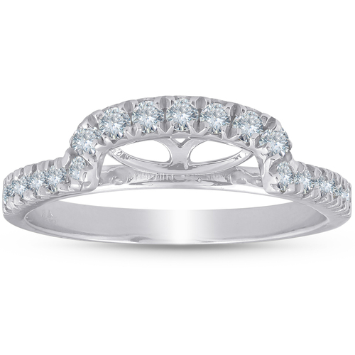 1/2 Ct Diamond Curved Notch Wedding Ring Matching Engagement Band 14k White Gold (H/I, I1)