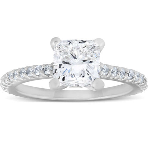 2 Ct Diamond Engagement Ring Princess Cut 14k White Gold (H/I, SI2)