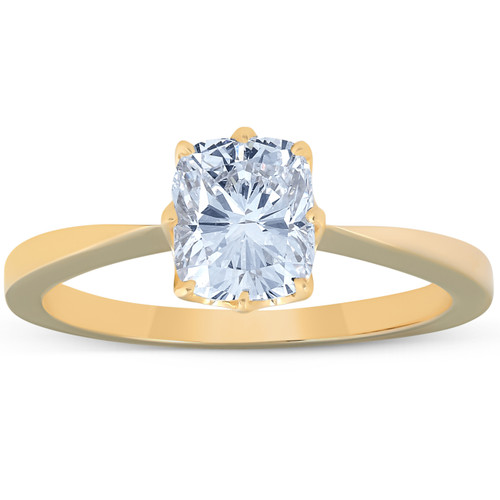 1 Ct Cushion Diamond Solitaire Engagement Ring 14k Yellow Gold (G/H, SI1)
