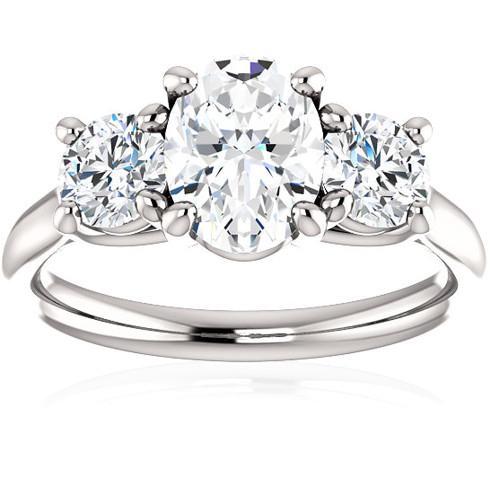 1 3/4 Ct Moissanite & Lab Grown Diamond 3 Stone Engagement Ring 10k White Gold (G/H, VS1-VS2)
