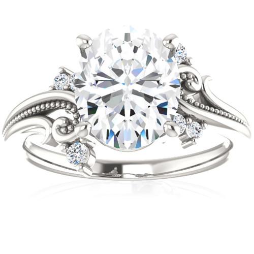 2 1/5 Ct Oval Moissanite & Lab Grown Diamond Engagement Ring 14k White Gold (G/H, VS1-VS2)