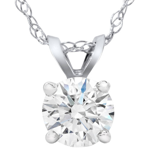 1 1/10 Ct Solitaire Lab Grown Diamond Pendant Necklace White Gold IGI Certified ((I), SI(2))