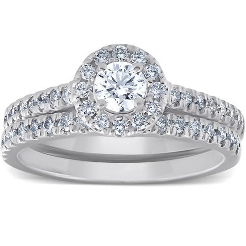 1Ct Halo Round Lab Grown Diamond Engagement Matching Wedding Ring Set White Gold (((G-H)), SI2-I1)