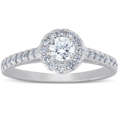 3/4 Ct Halo Round Diamond Engagement Halo Ring 10k White Gold (G/H, I1-I2)