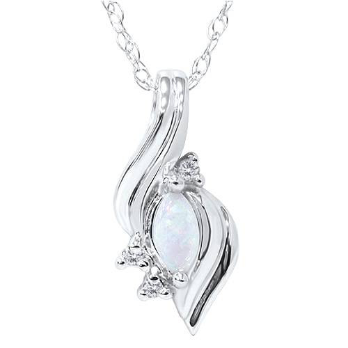 1/4ct Marquise Opal Fancy Diamond Solitaire Accent Pendant 14K White Gold (G/H, I1)