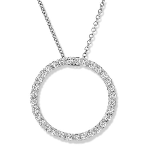 "1/2 Ct Circle Lab Grown Diamond Pendant 14k White Gold 18"" Necklace (((G-H)), SI(2)-I(1))"